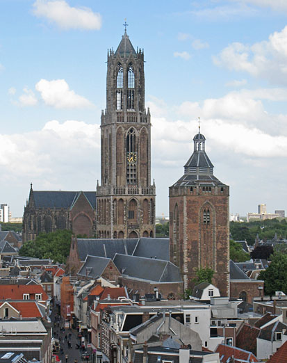Utrecht, view of the city center, the cathedral and the Buurkerk.