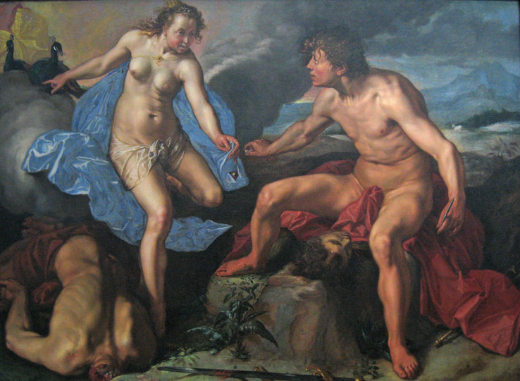 Juno and Mercury with Argus' eyes, by Hendrick Goltzius