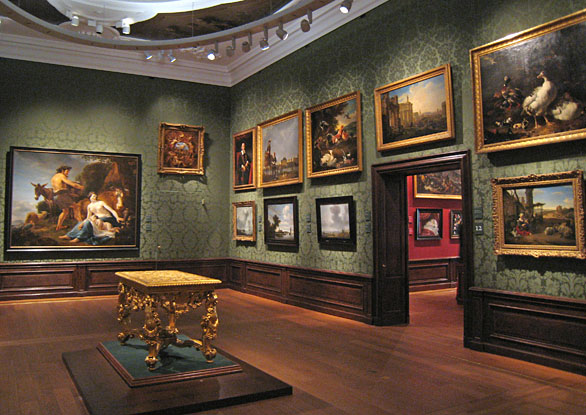 Mauritshuis, museum gallery with landscapes
