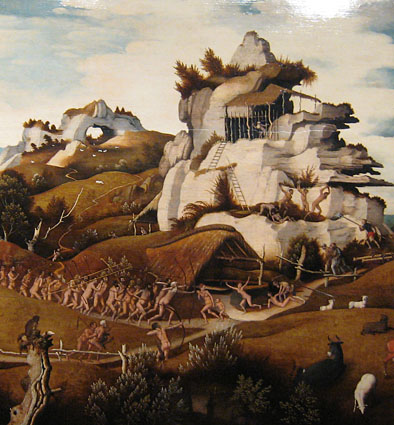 Jan Jansz Mostaert, ca. 1535, Landscape with an Episode from the Conquest of America (Detail)