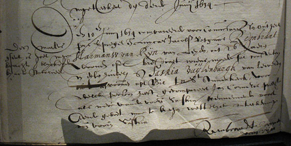 Rembrandt and Saskia, document with formal intention to marry (Ondertrouwregister) Oude Kerk Amsterdam