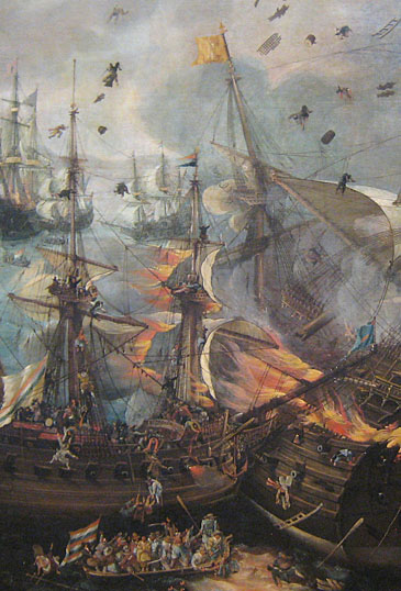 Explosion Spanish ship at the battle of Gibraltar