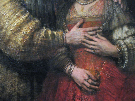 "Rembrandt, detail of the so-called ""Jewish Bride"""