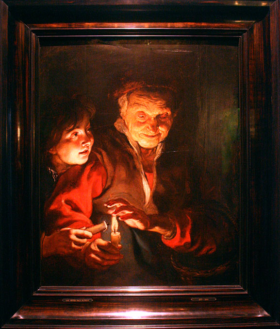 Rubens, old woman and boy with candles, Mauritshuis