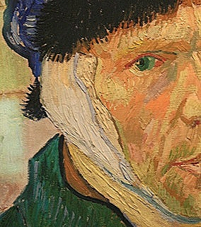 Vincent van Gogh, Selbstbildnis mit bandagiertem Ohr (Detail), Courtauld Institute London 1889