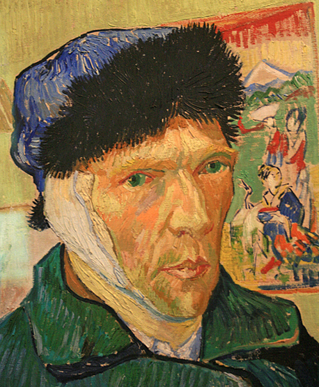 Vincent van Gogh, Self Portrait with bandaged ear (detail), 1889, Courtauld Gallery, London