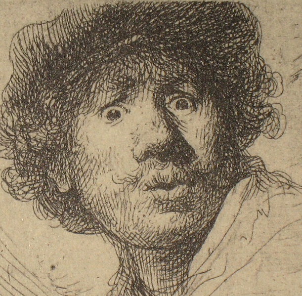 Rembrandt van Rijn, Self portrait, etching