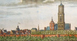 Utrecht, its cathedral tower and the Buurkerk, on a large  topographic view