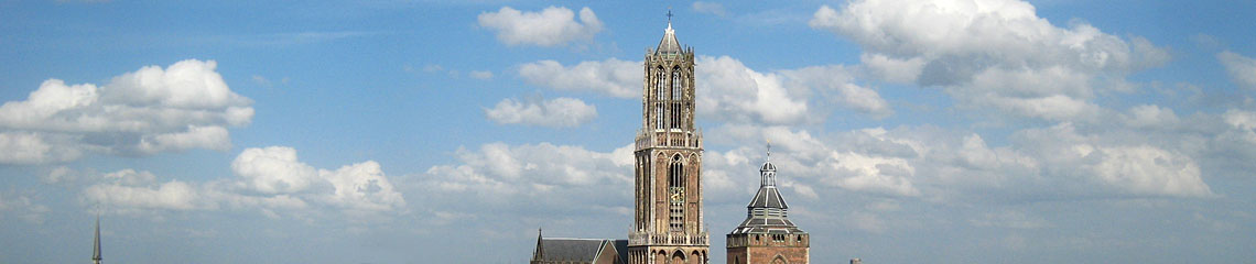 View Utrecht cathedral tower and Buurkerk